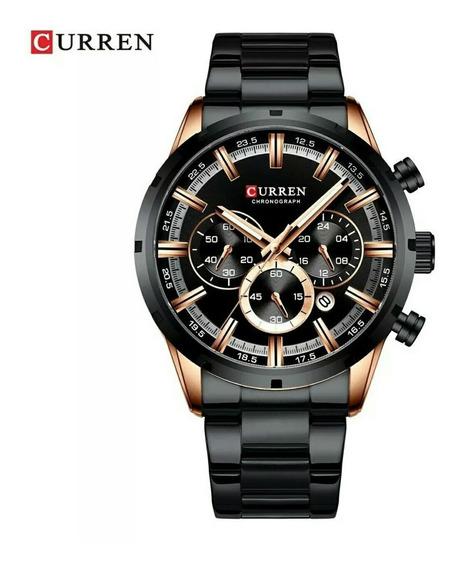 Relógio Curren Masculino Aço Inoxidável Preto