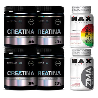 Kit 4 Potes De Creatina 300g Probiotica + Multimax E Zma