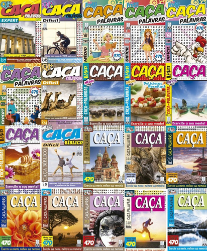 Pacote Com 20 Revistas De Caça Palavras - Nível Difícil