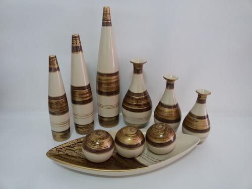 Imagem 1 de 4 de Conjunto Cerâmica Jogo Trio Vasos Palito & Doçura + Canoa G
