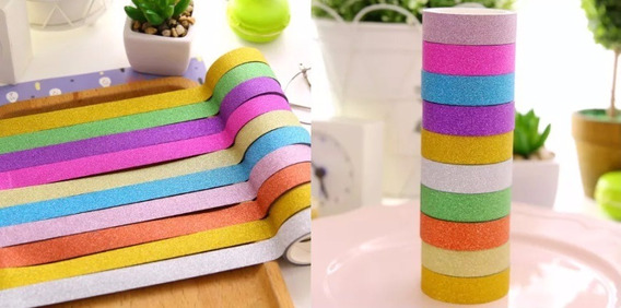 Kit 10 Rolo Fita Adesiva Com Glitter Washi Tape 2m Cada