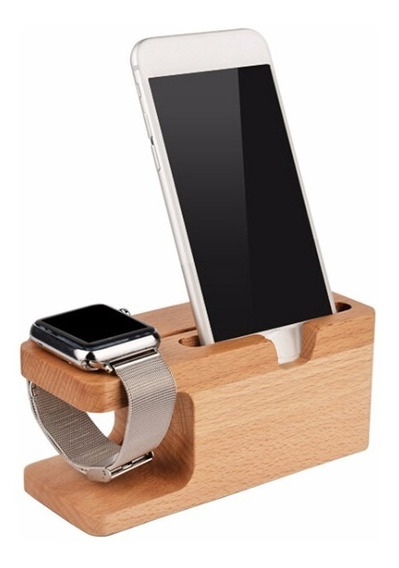 Base Dock Madera Bambu Celular iPhone Compatible Apple Watch 32mm 42mm Android Galaxy Stand Envio Gratis