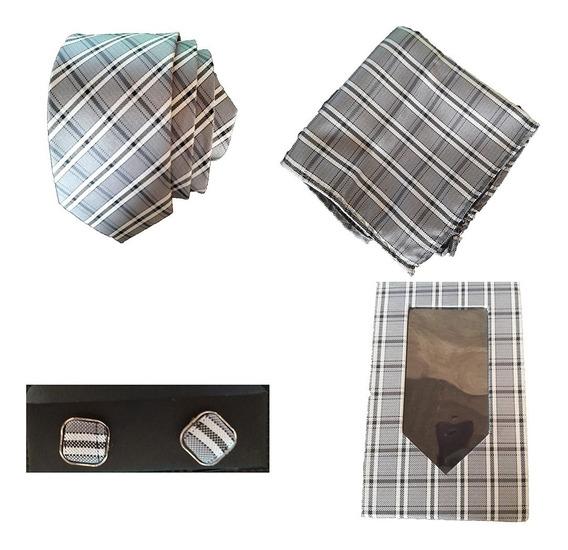 Set Estilo Vintage Corbata, Pañuelo Y Mancuernillas C/caja