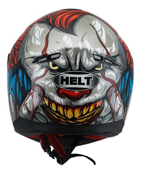 Capacete Esportivo Helt Moto New Race Joker Coringa Fechado Preto Vermelho