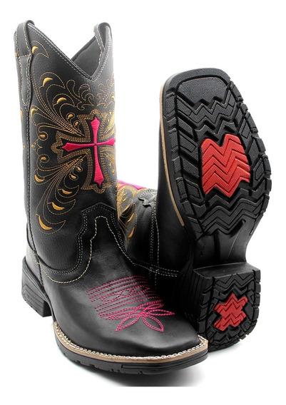 Bota Texana Country Feminina Rodeio Bico Quadrado Promoção