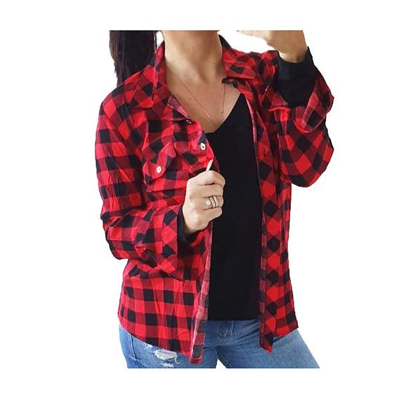 Kit Com 3 Pecas Camisa Blusa Xadrez Feminina Frete Gratis