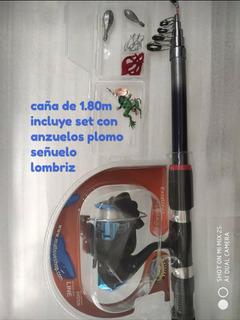 1.80 M Caña De Pescar Telescopica+kit Con Estuche Nuevo
