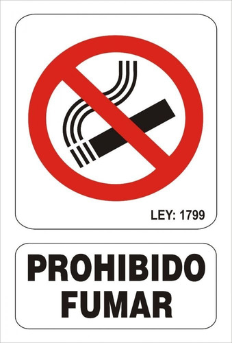 Cartel Prohibido Fumar Linea Prohibición 22x28 Alto Impacto