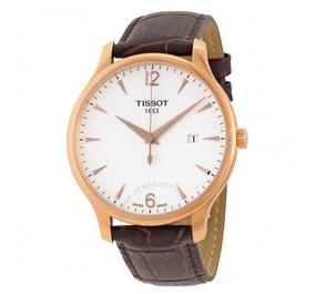 Relógio Tissot Masculino Tradition Branco/marrom/couro/rosé