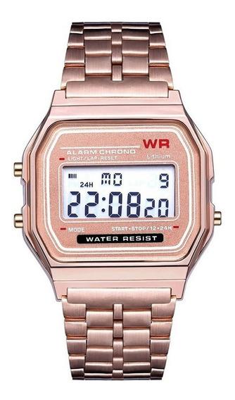 Relógio Wr De Pulso Digital Feminino Multifuncional Rose