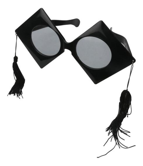 Divertido Black Big Graduation Hat Óculos De Sol Borlas Par