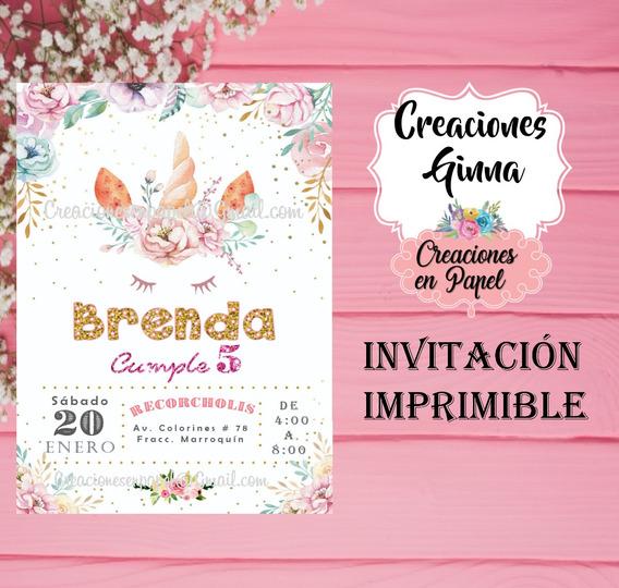 Invitacion Imprimible Unicornio Y Flores
