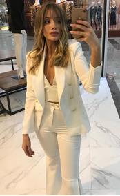 Blazer Feminino Branco, Blitz Closet, Botões Dourados