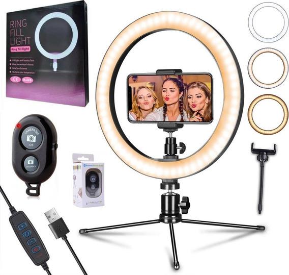 Ring Light Iluminador Luz Led Maquiagem 26cm Tripé Bluetooth