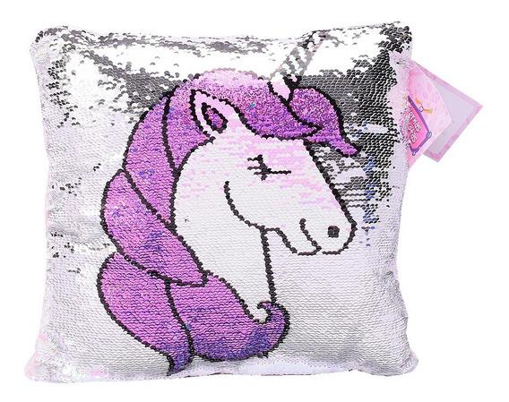Almohadon Unicornio Con Brillo Lentejuelas Tiernas Mascotas