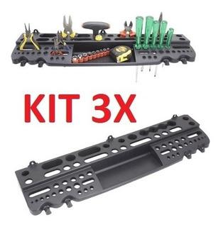 Kit 3 Suporte Para Ferramentas Painel De Parede Organizador