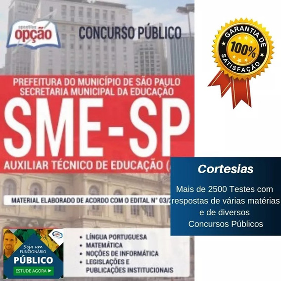 Apostila São Paulo Sme Sp 2019 Auxiliar Técnico De Educação