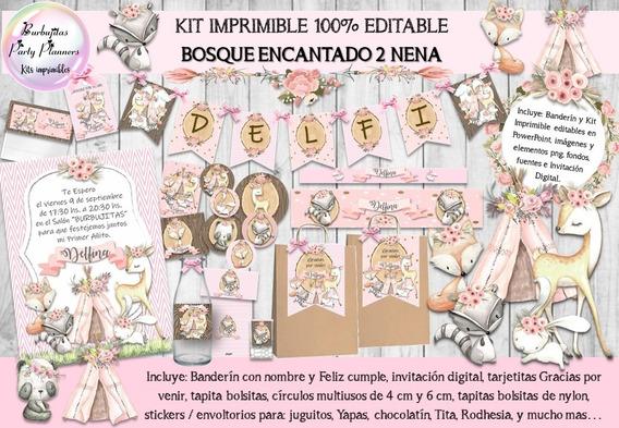 Kit Imprimible Animales Del Bosque Encantado 100% Editable