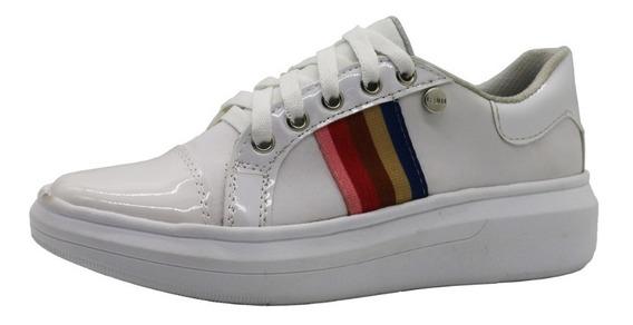 Zapatos Zapatillas Urbanas Mujer Cuero Pu Blanco Leblu 7018