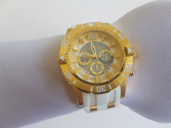 Relógio Invicta Pro Diver Original 23699 Dourado Com Branco