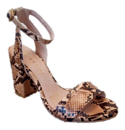 Imagen 1 de 10 de Zapatos Sandalia Café Tacón Grueso Mujer