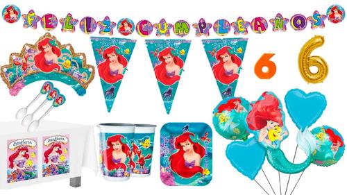 Kit Decoración Fiesta Sirenita Ariel 12 Personas + Bouquet