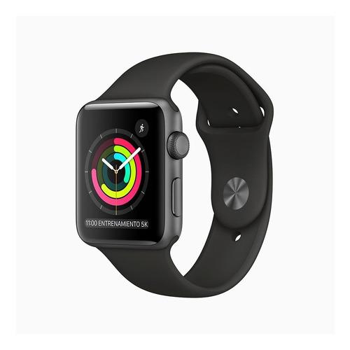 Imagen 1 de 6 de Apple Watch  Series 3 (GPS) - Caja de aluminio gris espacial de 42 mm - Correa deportiva negro