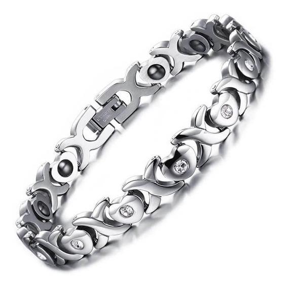 Pulseira Feminina Magnética Luxo Bracelete Feminino Aço Inox