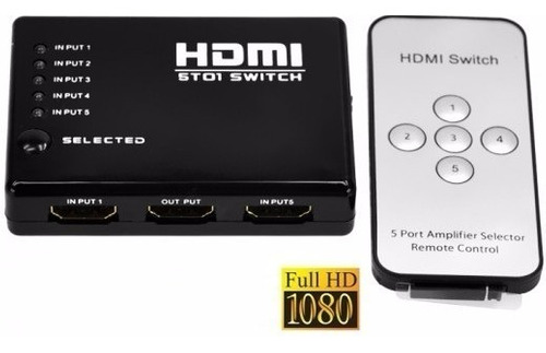 New Spliter Switch Hdmi 3x1 1080p 3 Entradas Remoto Full Hd