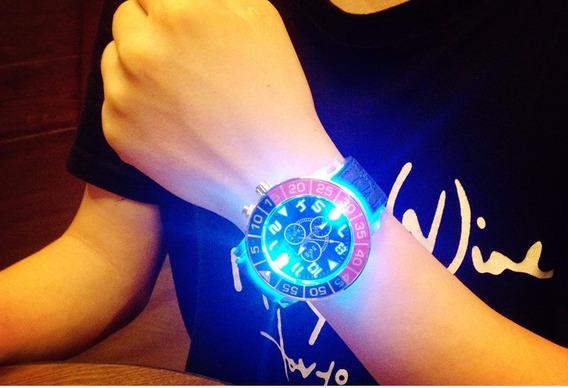 Relógio De Pulso Com Leds , Luzes - Pulseira De Silicone