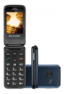Celular Flip Multilaser P9020 Dual Chip Mp3 Azulfunção Sos
