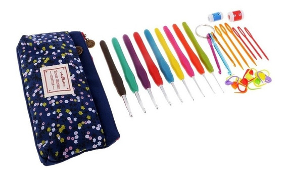 Kit Crochet Con Estuche De Tela + Accesorios