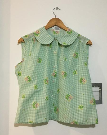 Camisa Vintage Cuello Bebé Peter Pan Retro