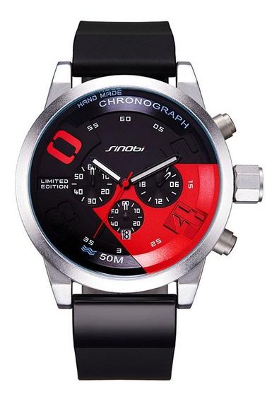 Relógio De Quartzo Sinobi 9716 Cronógrafo Azul