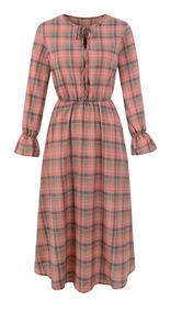 Women Vintage Plaid Dress Long Sleeves O Neck Elastic Waist