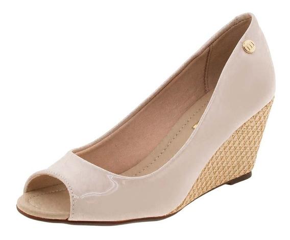 5270840 Sapato Peep Toe Moleca Anabela - Creme - 33 Ao 38