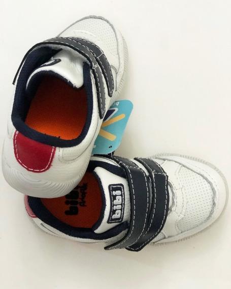 Tênis Bibi Infantil Walk Baby New Em Couro Branco E Marinho