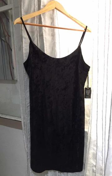 Vestido Forever 21 Terciopelo Negro Talle L