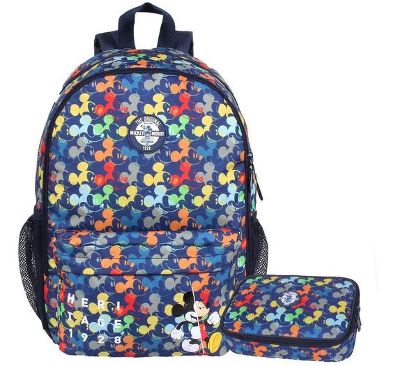 Mochila Mickey Colors 51933 + Estojo Luxo 51932 + Chaveiro