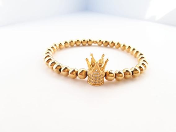 Pulsera Para Hombre/mujer Chapa Oro Y Corona Con Zirconias