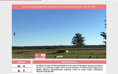 100 Ha Agricolas / 35 Ha Ganaderas / 5 Ha For. / 42 Hs Agri