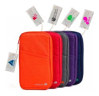 50 Organizador Viaje Pasaporte Tarjetas + Etiqueta Con Logo