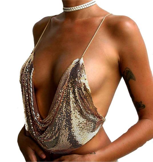 Top De Brillos Con Choker Y Body Chain Dorado-negro-plateado