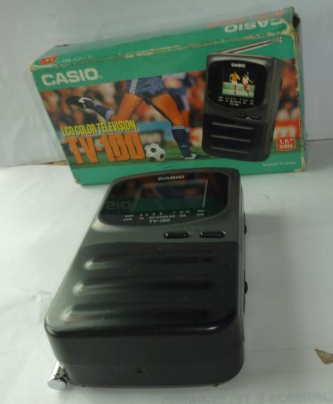 Tv Casio Portátil Lcd Color Tv-100 No Estado