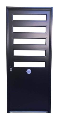 Puerta Doble Chapa Inyectada Premium 5 Paños Fijos 80x200
