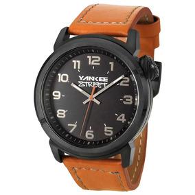 Relógio Yankee Street Masculino Ys30363p Preto Couro Marrom