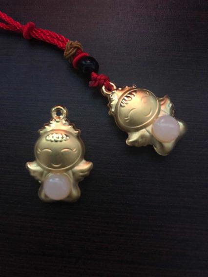 Dije Angel Oro 18k Y Jade 3d Amuleto Protección Regalo.