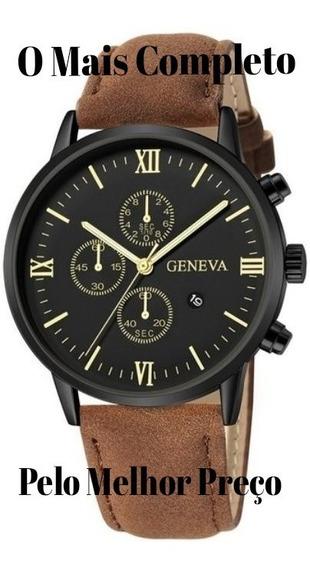 Promoção Relógio Luxo Masculino Pulseira De Couro