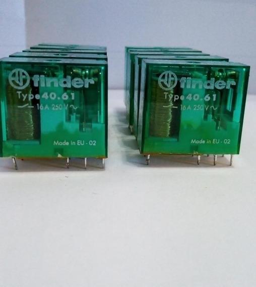 Kit C/10 Rele Finder 16a-250v 8 Pinos 6v - Mod: Type40.61
