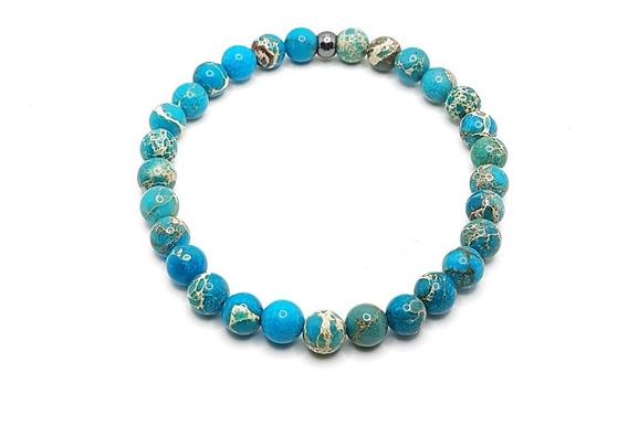 Pulseira Masculina Feminina Pedra Jaspe Azul Marinho Claro